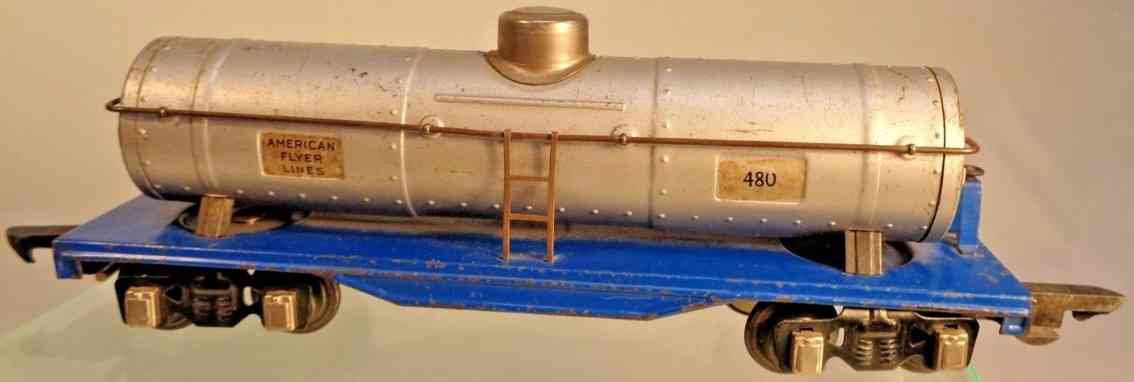 american flyer toy company 480 spielzeug eisenbahn kesselwagen silber blau spur 0