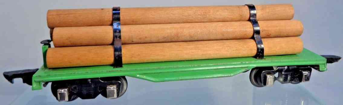 american flyer toy company 482 railway toy flat car metal green dowel-logs  gauge 0