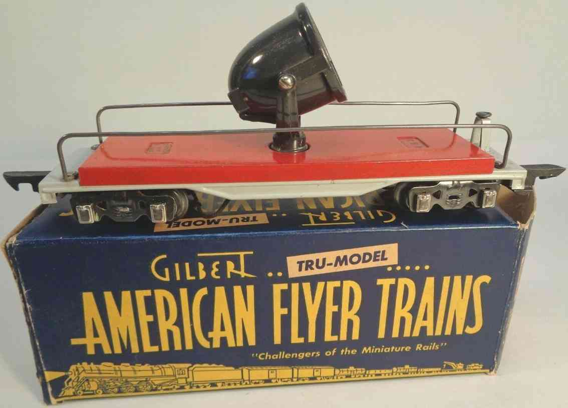 american flyer toy company 488 railway toy floodlight car red gray black gauge 0