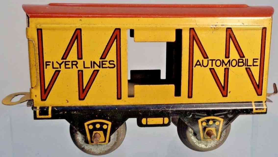 american flyer toy company 534 railway toy box car yellow brown guage 0