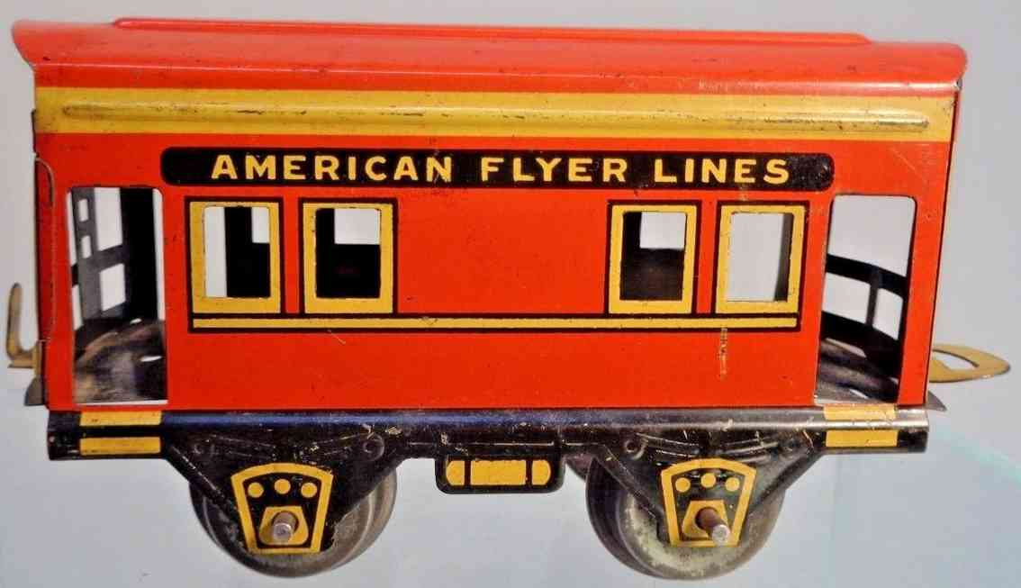 american flyer toy company 536 toy caboose hammer style red orange yellow gauge 0