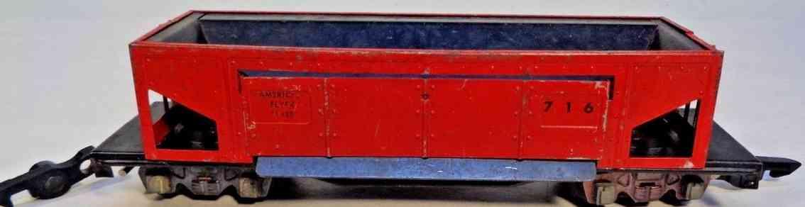 american flyer 716 spielzeug eisenbahn schuettgutwagen seitenkippwagen rot spur s