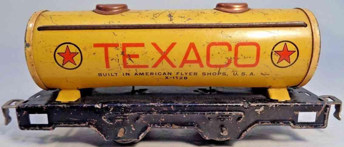 american flyer toy company x-1128 railway toy tank car yellow texaco gauge 0