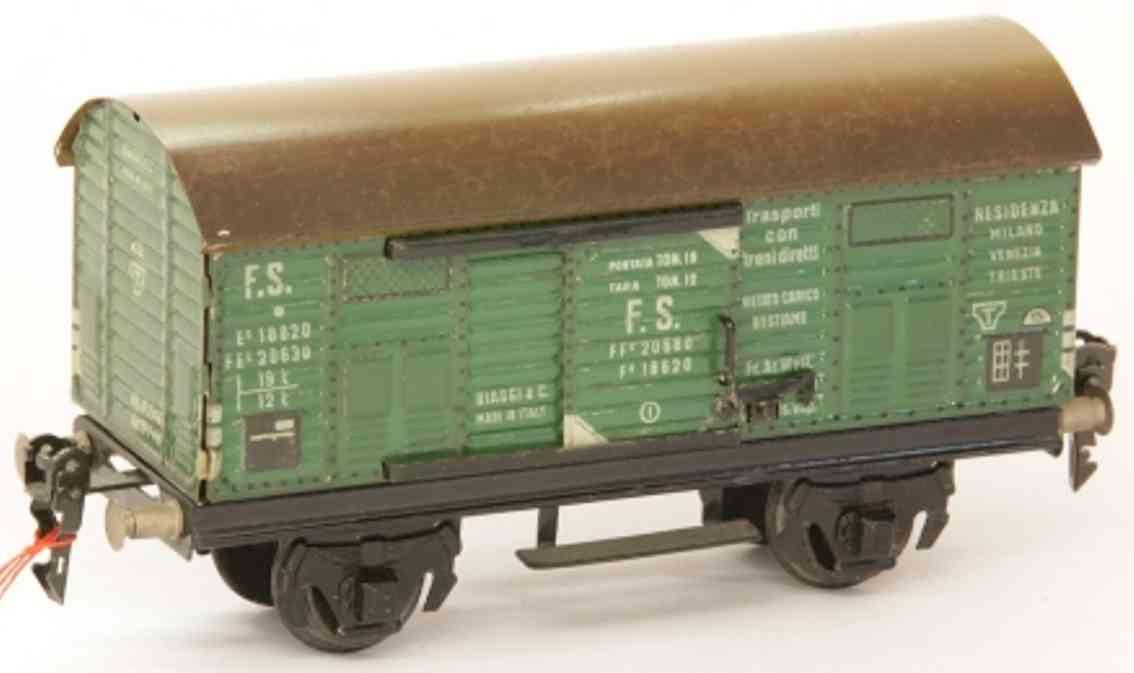 biaggi 18620 V spielzeug eisenbahn gedeckter güterwagen; 2-achsig; in grün, graues dach braun s