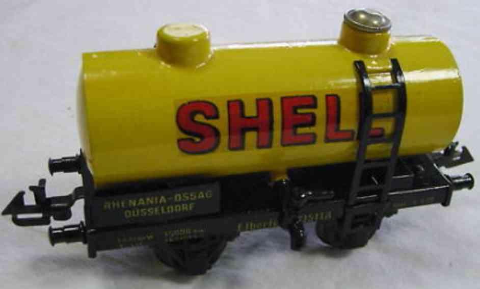 bing 10/5118/0 spielzeug eisenbahn kesselwagen gelb shell spur 0