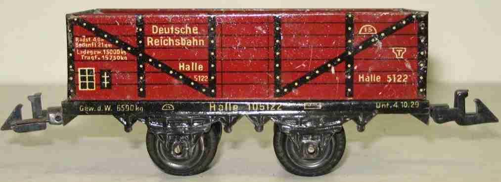 bing 10/5122 spielzeug eisenbahn offener güterwagen; 2-achsig; rotbraun chromlithografiert, o