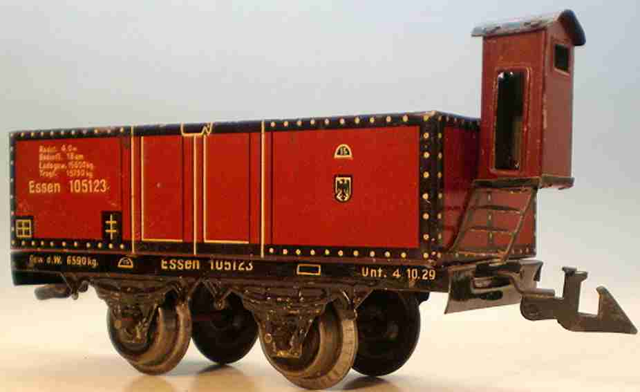 bing 10/5123 railway toy open freight car maroon gauge 0