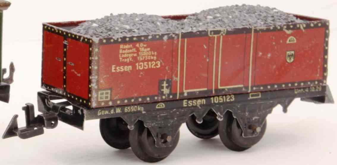 bing 10/5123 without bh railway toy open freight car maroon gauge 0
