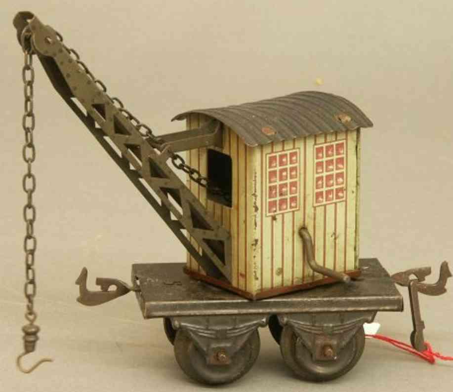 bing 10/513 spielzeug eisenbahn kranwagen; 2-achsig, lithografiert in grüngrau und schwarz,