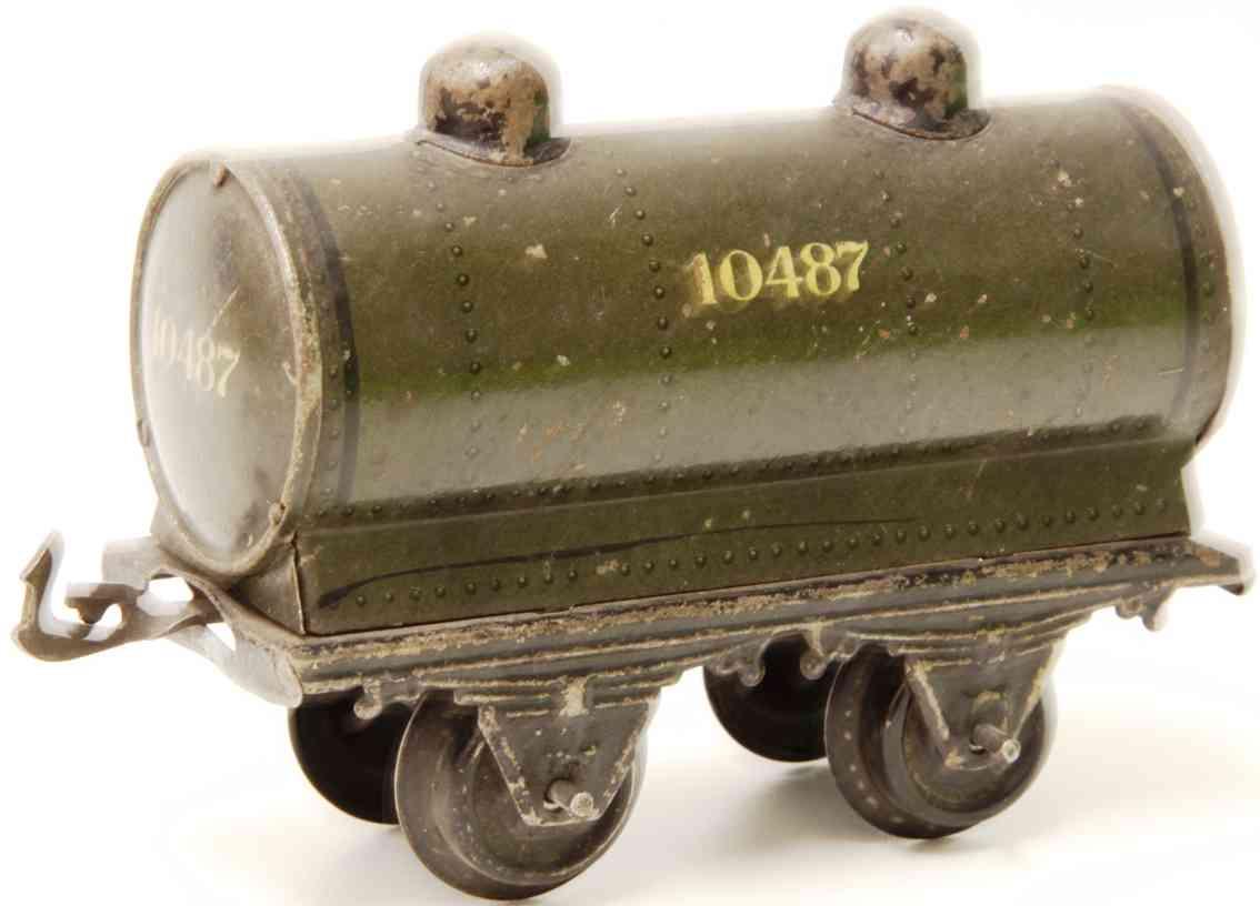 bing 10/517 10487 railway toy tank car grayolive gauge 1