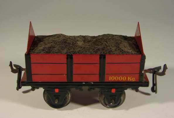 bing 10/519 spielzeug eisenbahn kohlenwagen; 2-achsig; rot und schwarz handlackiert, ohne pu