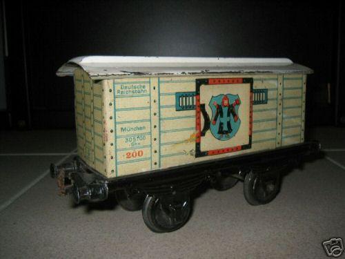 bing 10/522 spielzeug eisenbahn bierwagen; 2-achsig; weiß chromlithografiert, 2 schiebetüren