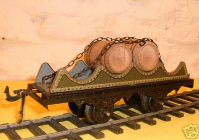 bing 10/527 spielzeug eisenbahn faßwagen 2-achsig, grau chromlithografiert, außen olivgrün i
