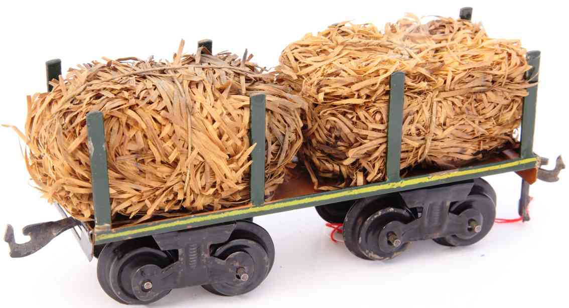 bing 10/545 flat wagon with wood wool side stake green brown gauge 0
