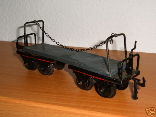 bing 10/546 spielzeug eisenbahn langholzwagen; 4-achsig; grau und schwarz chromlithografiert