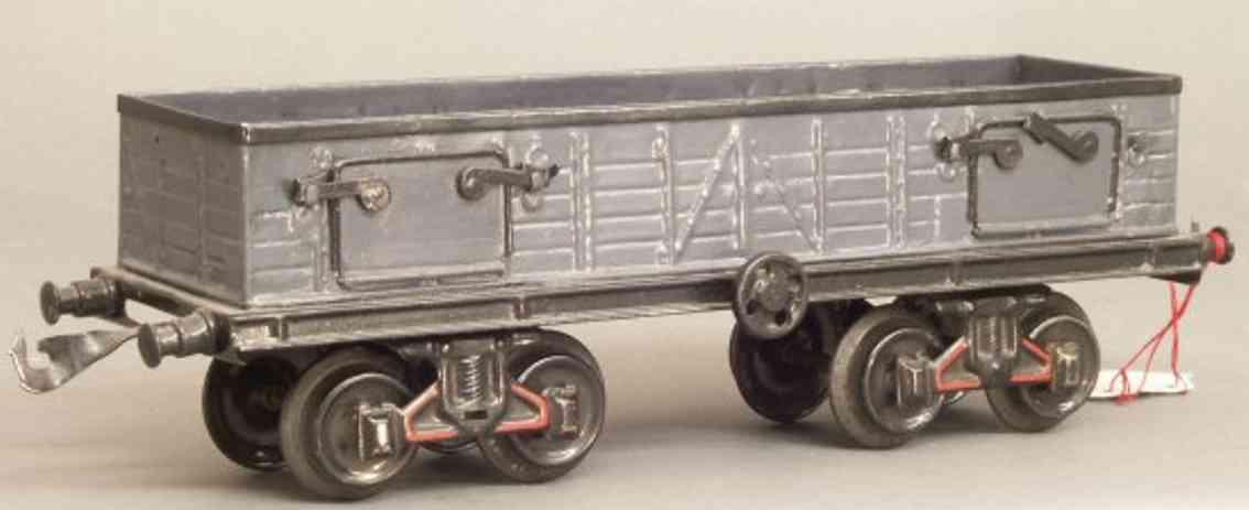bing 10/547 spielzeug eisenbahn kohlenwagen; 4-achsig; handlackiert in grau und schwarz, 4 t