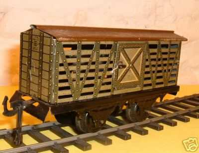 bing 10/552 spielzeug eisenbahn pferdetransportwagen; 2-achsig; oliv und schwarz chromlithog