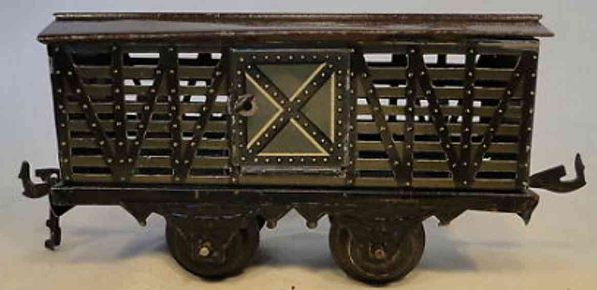 bing 10/552 spielzeug eisenbahn pferdetransportwagen oliv schwarz spur 1
