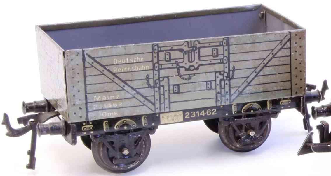 bing 10/562 mainz german reichsbahn railway toy gondola car gray gauge 0