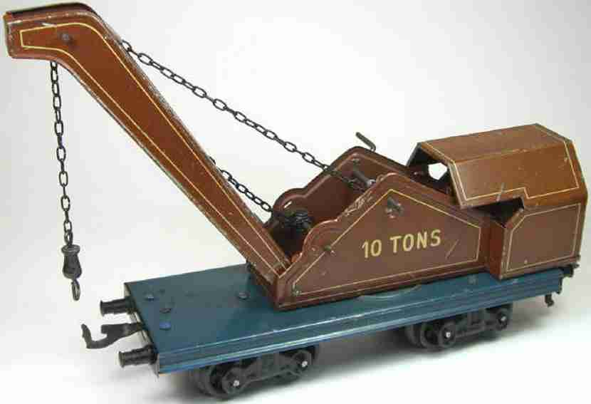 bing 10/574 spielzeug eisenbahn kranwagen blau braun spur 0