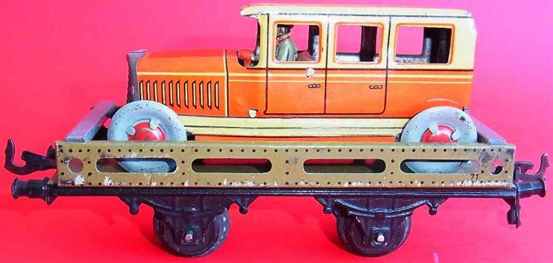 bing 10/585 eisenbahn autotransportwagen orangerote limousine spur 0