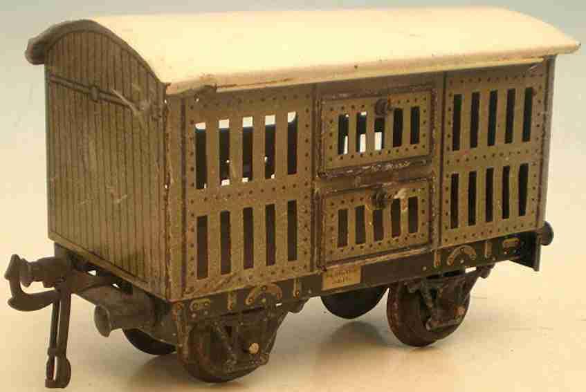 bing spielzeug eisenbahn kleintierwagen; 2-achsig; lithografiert