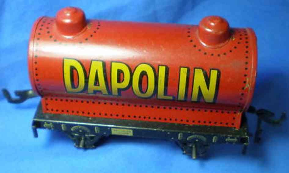bing 10/589 spielzeug eisenbahn kesselwagen; 2-achsig; rot chromlithografiert mit 2 imitiert