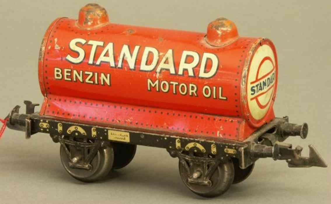 bing 10/589 spielzeug eisenbahn kesselwagen; 2-achsig; lithografiert in rot und schwarz, 2 i