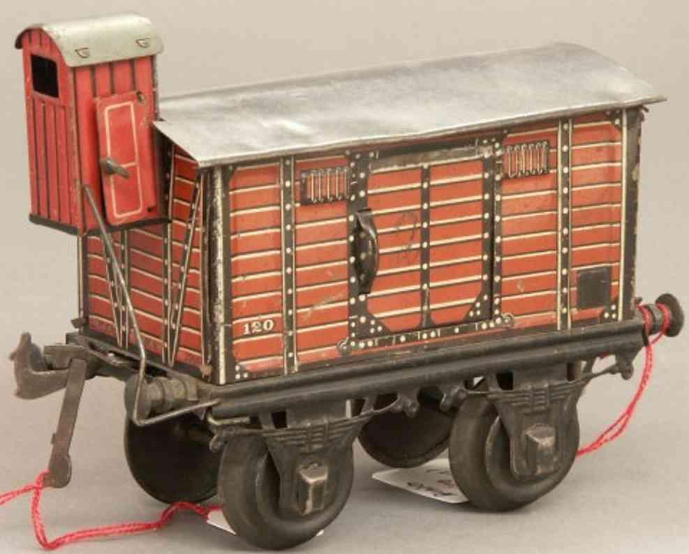 bing 10/59 eisenbahn gedeckter gueterwagen mit bremserhaus rot spur 1