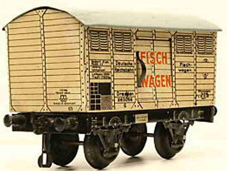 bing 10/592 spielzeug eisenbahn fischwagen; 2-achsig
