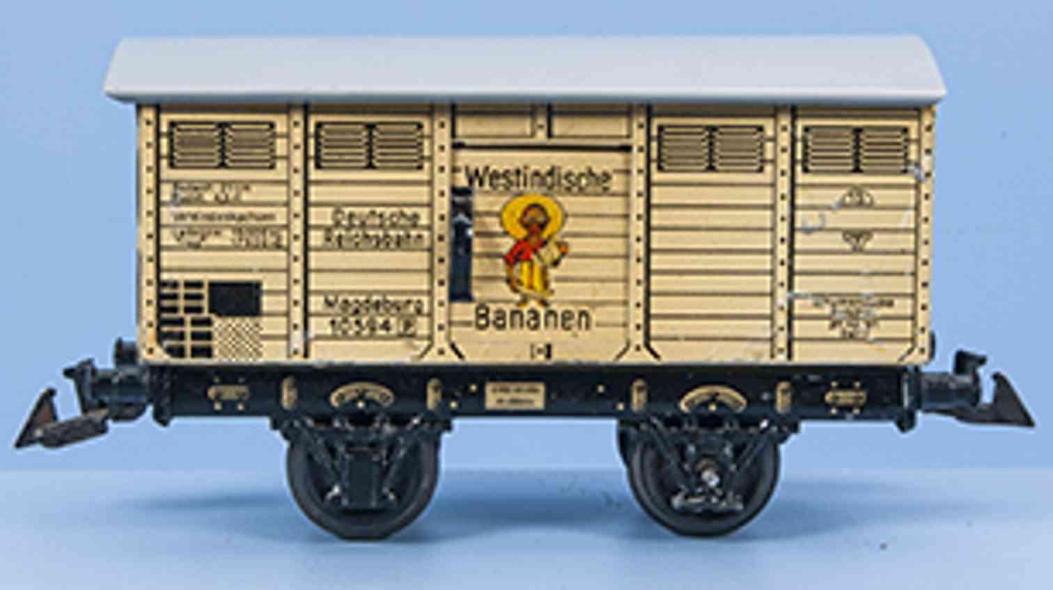 bing 10/594 railway toy banana car white-beige gauge 0