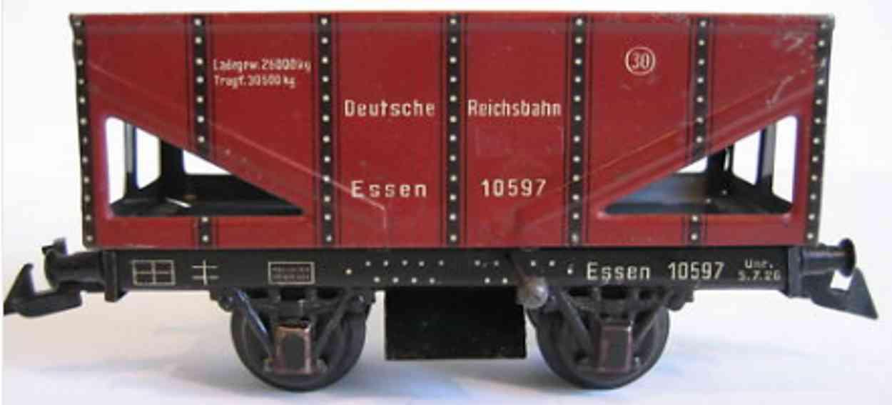 bing 10/597 spielzeug eisenbahn schüttgutwagen; 2-achsig; rotbraun lithografiert mit entlade