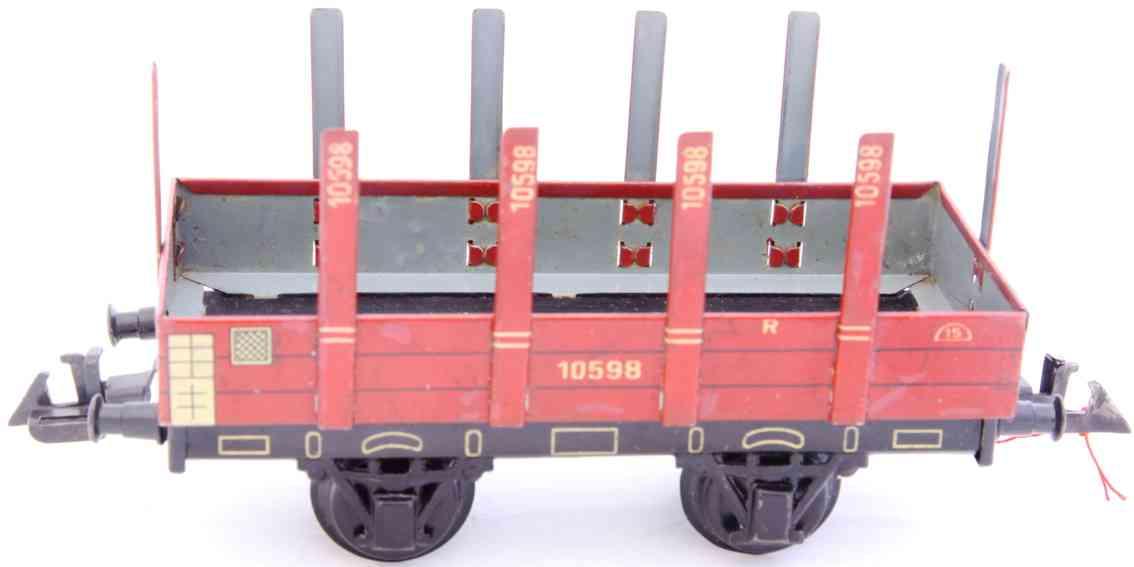bing 10/598 railway toy flat wagon maroon stakes gauge 0