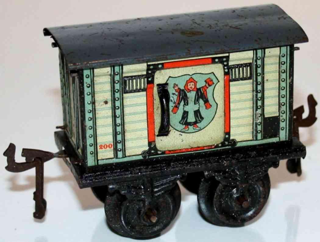 bing 10125 spielzeug eisenbahn bierwagen; 2-achsig; weiß/grau lithografiert; 2 schiebetüren