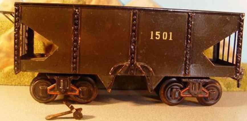 bing 10358 spielzeug eisenbahn bekohlungswagen; 4-achsig grau/schwarz handlackiert; ohne pu