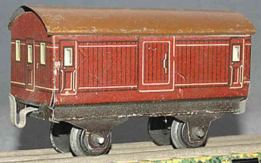bing 11/923/5 spielzeug eisenbahn gepäckwagen; 2-achsig; braun lithografiert