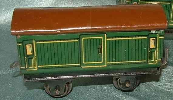 bing 11/923/5 spielzeug eisenbahn gepäckwagen; 2-achsig; grün chromlithografiert mit braunem r