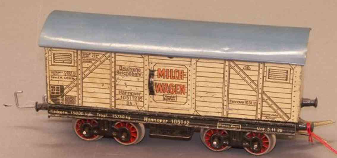 bing 12/15112 spielzeug eisenbahn milchwagen; 4-achsig; weissbeige und grau lithografiert mit