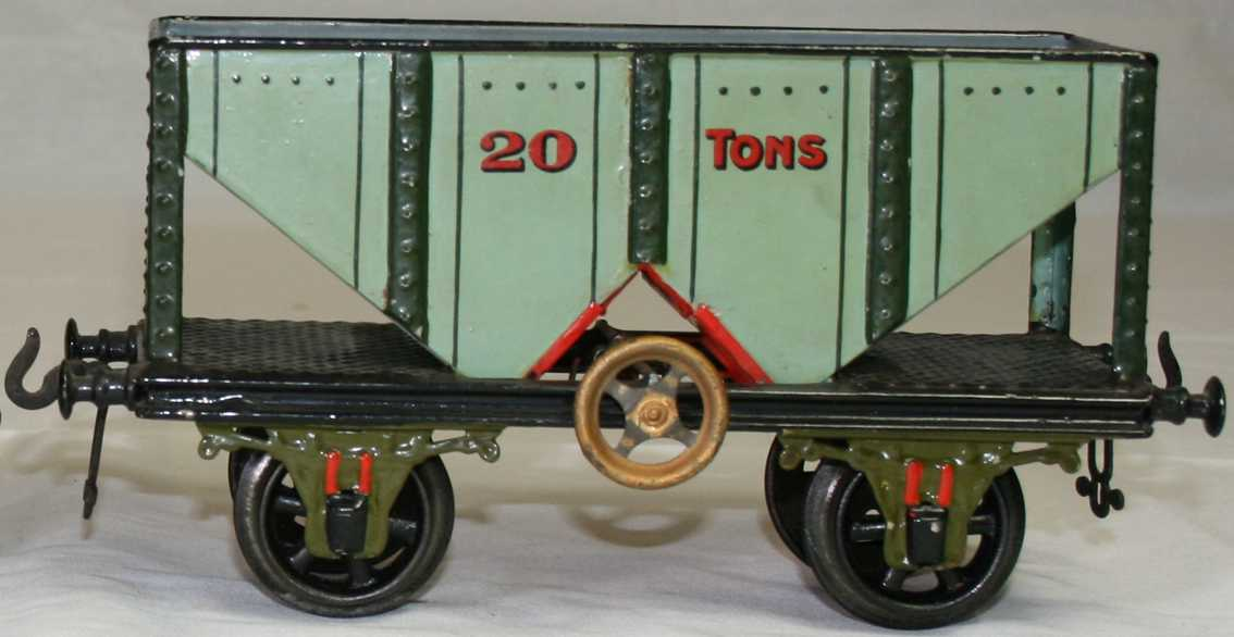 bing 13668/2 railway toy coal wagon light blue green red gauge 2
