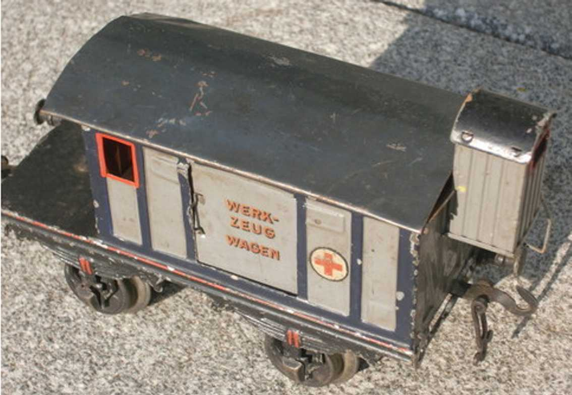 bing 14473 spielzeug eisenbahn werkzeugwagen blau grau spur 1