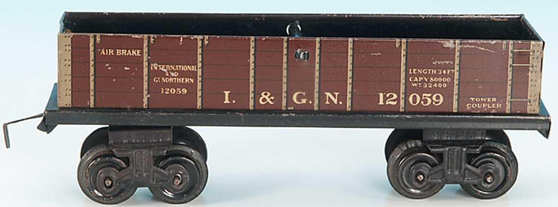 bing 525/811 railway toy american high-sided car gauge 0