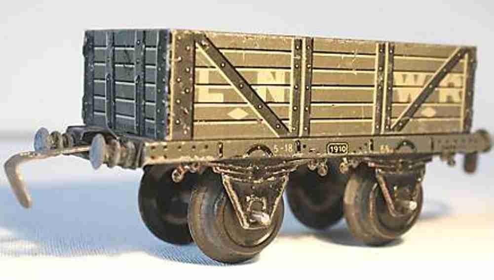 bing 62/592 lnwr railway toy english gondola gray gauge 0