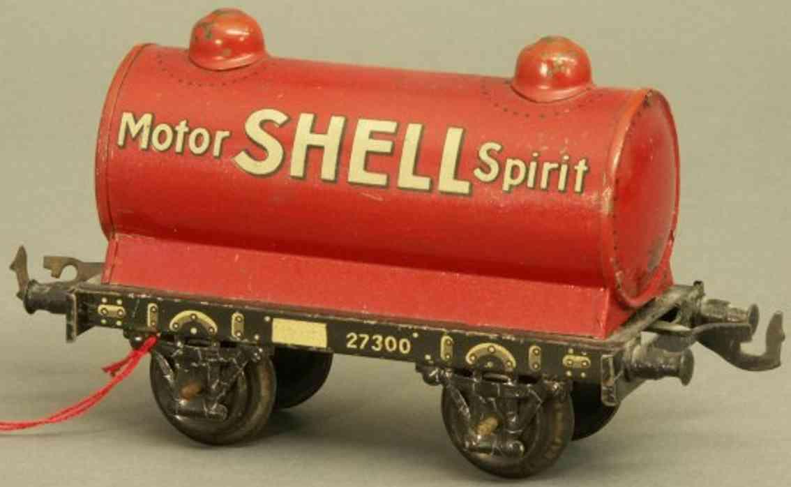 bing 62/590 shell railway toy english tank car red gauge 0