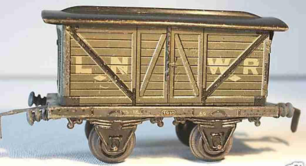 bing 62/593 lner railway toy box car english box car gray black gauge 0