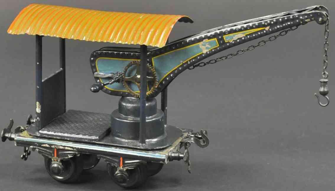 bing 7022/1 railway toy crane truck green black corrugated rorf gauge 1