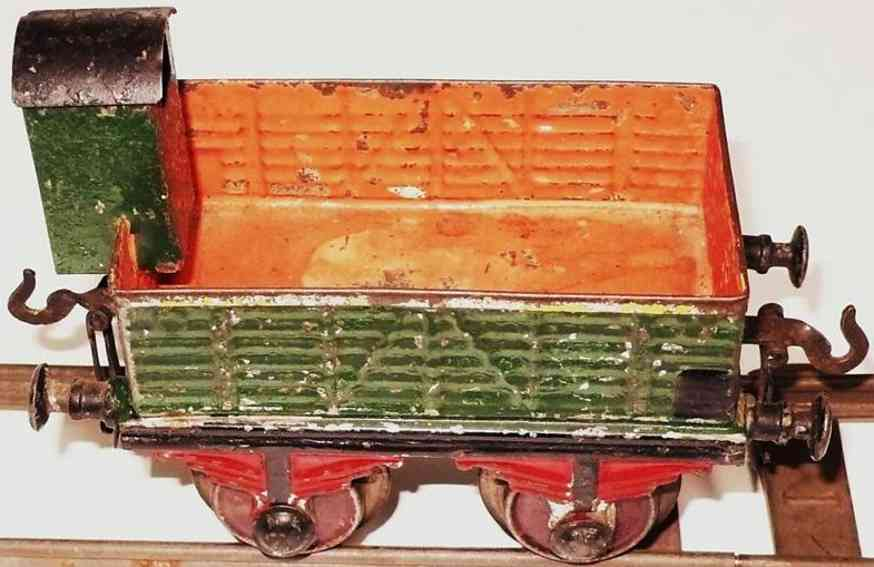 bing 7045 eisenbahn offener gueterwagen mit bremserhaus gruen orange spur 1