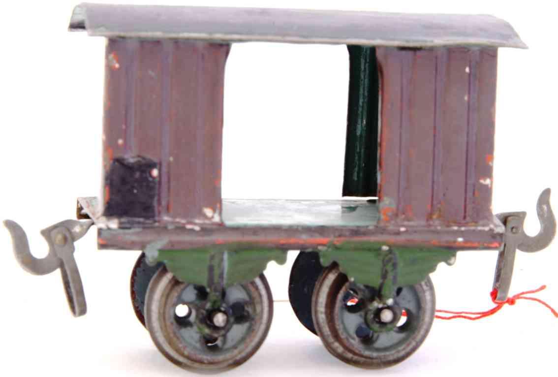bing 8417 railway toy box car darkbrown green gauge 0