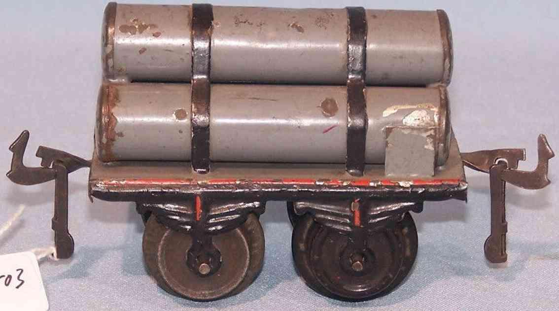 bing 9184 railway toy gas tube car gray gauge 0
