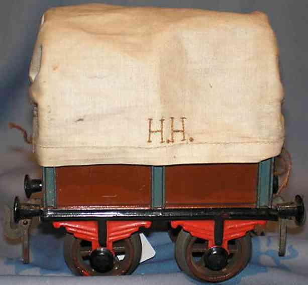 bing 9681 railway toy tarpaulin car maroon gauge 1