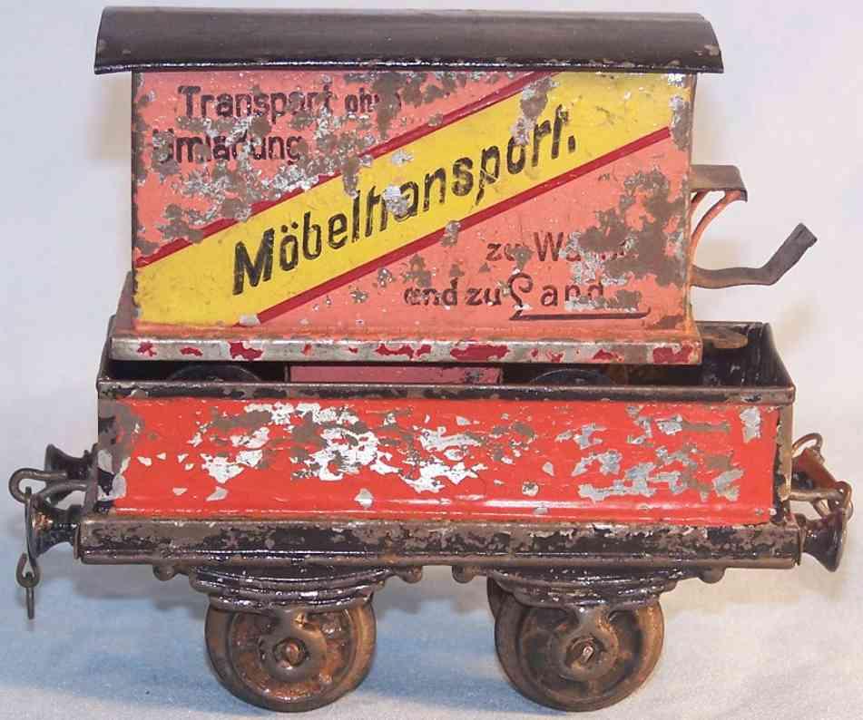 bing spielzeug eisenbahn moebeltransportwagen rot spur 0